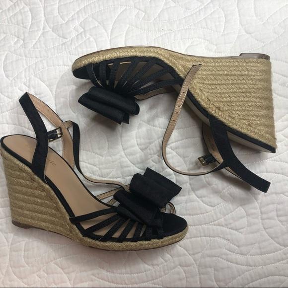kate spade Shoes - Kate Spade Black Grosgrain Biana Wedge Size 8